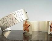 Wonder Woman Cuff with Stars (14k rivets)
