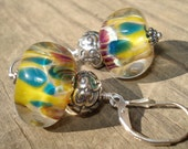 Color - Boro Lampwork and Bali Sterling Silver Earrings - Free Shipping