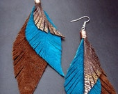 Leather Feather Earrings - Brown, Teal and Sparkly Bronze with Copper Wire