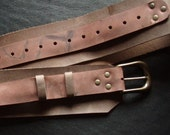 Steampunk Pirate Leather Belt,  wide brown belt with brass rivets and buckles