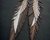 Leather Feather Earrings - Brown, gold and silver shoulder dusters