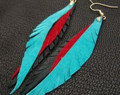 Leather Feather Earrings - turquoise, bright red, black