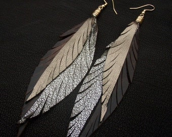Leather Feather Earrings - Gold, Sparkly Silver and Brown Dangly Earrings