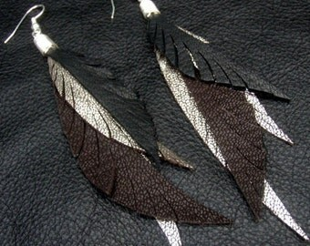 Long Feather Earrings - dark chocolate, black and silver leather feathers