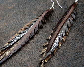 Metallic  Leather Feather Earrings in gold, bronze, silver and brown