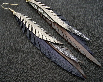 Feather Earrings in purple, gold, silver and brown leather