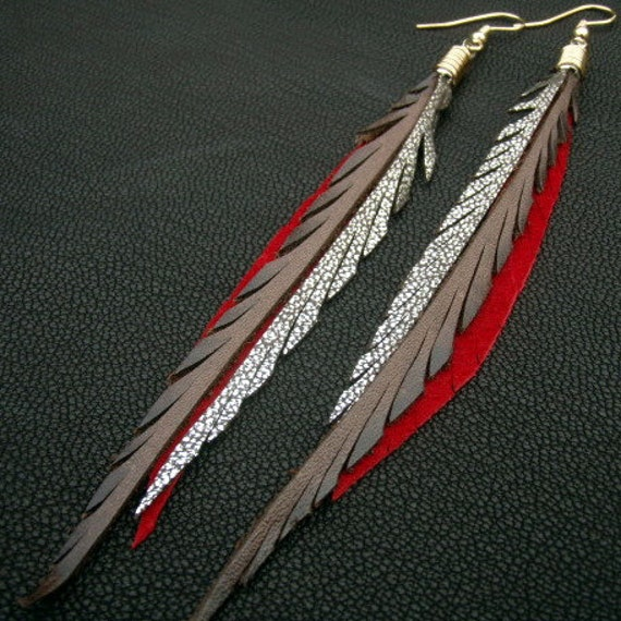 Leather Feather Earrings - brown, red and sparkly silver