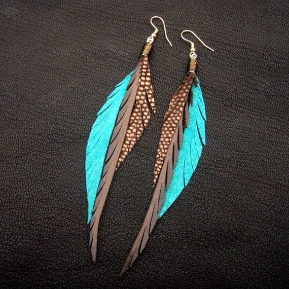 Leather Feather Earrings - brown, turquoise and sparkly bronze