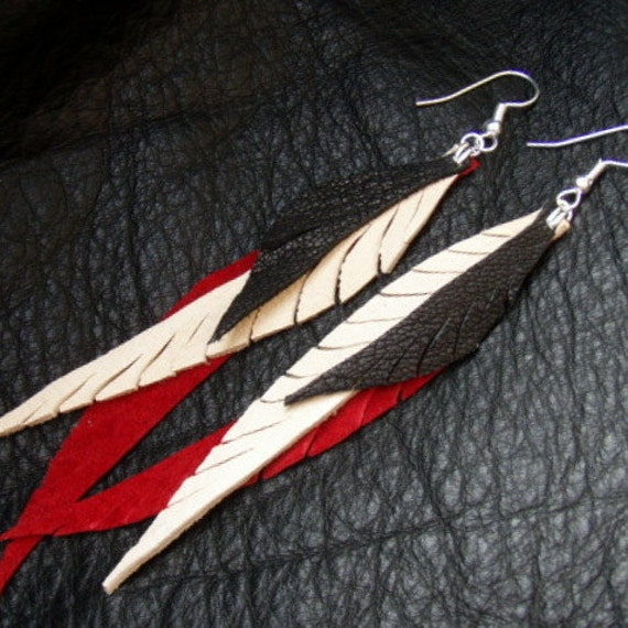 Red Suede and Dark Chocolate Leather Feather Earrings with Soft Creamy Deerskin