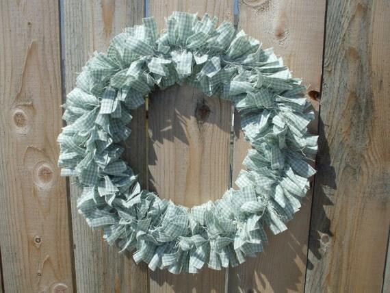 Aqua and White Check Flannel Small Rag Wreath Handmade Spring Wreath