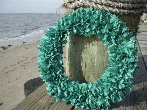 Currituck   Homespun Fabric Rag Wreath Green white Aqua Olive