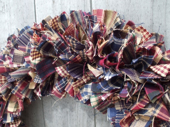 Primitive Americana Rag Wreath Homespun Fabrics Burgundy Navy Tan Rustic
