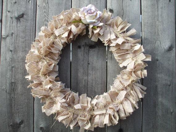 Sophia  Rag Wreath Lavender Pale Yellow Gingham Check Homespun Fabric Lavender Paper Rose