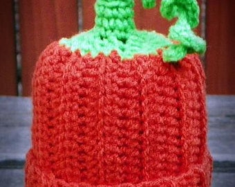 Crochet Halloween Fall Pumpkin Baby Hat Size 3 to 6 months