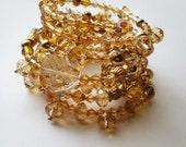 Glistening Gold Swarovski Crystal Wrap Bracelet ...Reserved for 1applejack