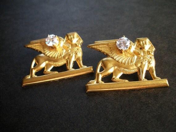 Sphinx Brass Stud Earrings