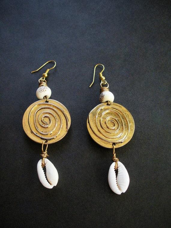 Adinkrahene Cowry African Earrings