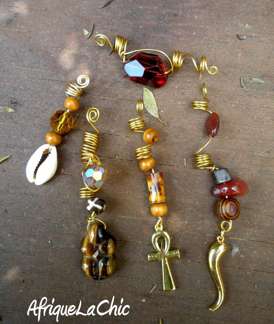 Loc Dreadlock Charm Jewelry Set Of 5 For Small To Medium Locs