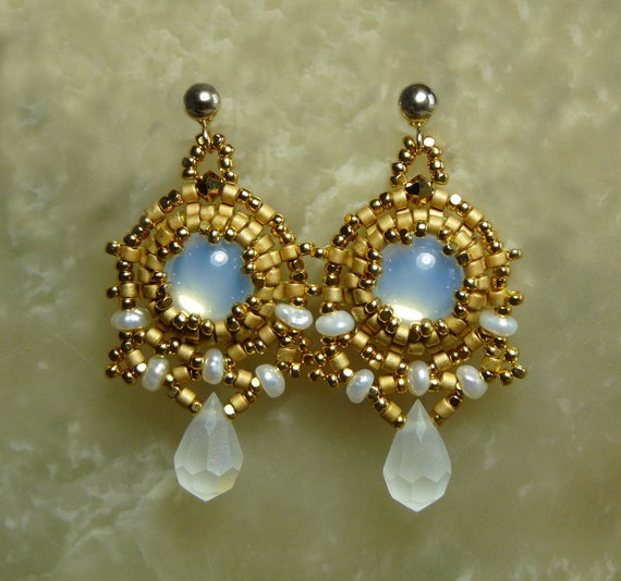Drops of Moonlight Beaded 24k Gold Earrings for Weddings or Special Occasions Beadweaver