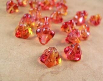 Fuchsia Pink Yellow Bell Flower Beads Czech Glass 6x8mm (25)