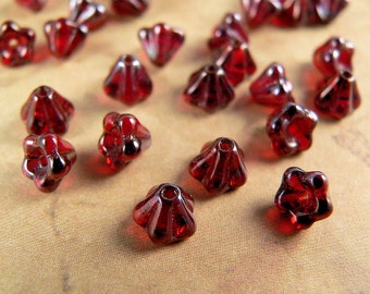 Red Czech Glass Baby Bell Flower Beads 4x6mm Siam Ruby Vega (25)