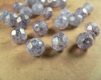 Purple Czech Glass Beads Amethyst Stone Luster 8mm Round Firepolished  (25)
