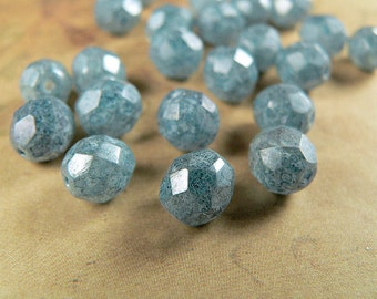 Blue Czech Glass Beads Stone Luster 8mm Round Firepolished  (25)