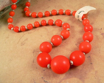 Vintage Glass Beads Orange Tangerine, Graduated, from Germany, 1 Strand