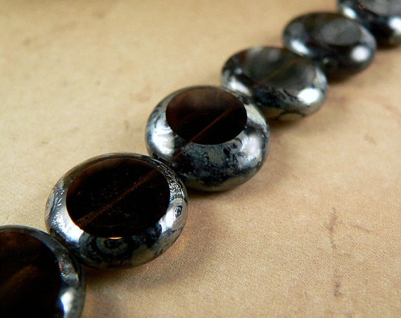 Coin Bead, Czech Glass, Smoky Topaz Pewter Picasso, 13mm (12)