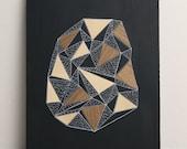 "Geode 2 - Original 8"" x 10"" Art, Wood Veneer & Illustration on Matte Black Wood Panel - RESERVED FOR ROB"