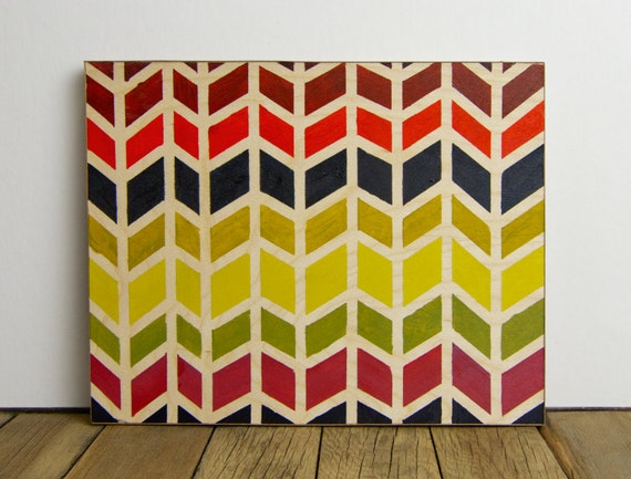 Colorful Hand-Painted Chevrons on Birch Plywood