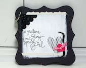 Mini Scrapbook bracket shape chipboard titled A Picture Story