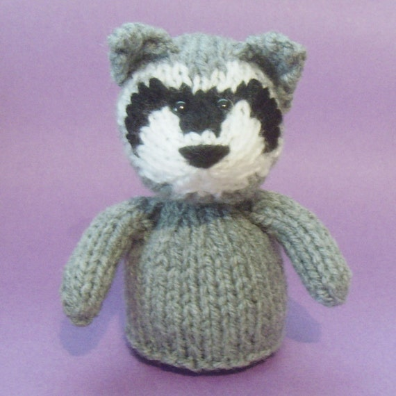 Raccoon Toy Knitting Pattern (legs included) - PDF
