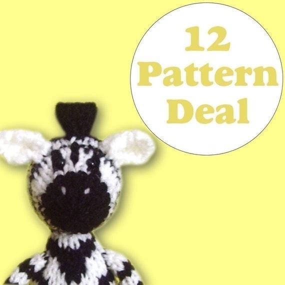 KNITTING PATTERN DEAL - 12 Animal Toy Patterns - you choose (pdf)