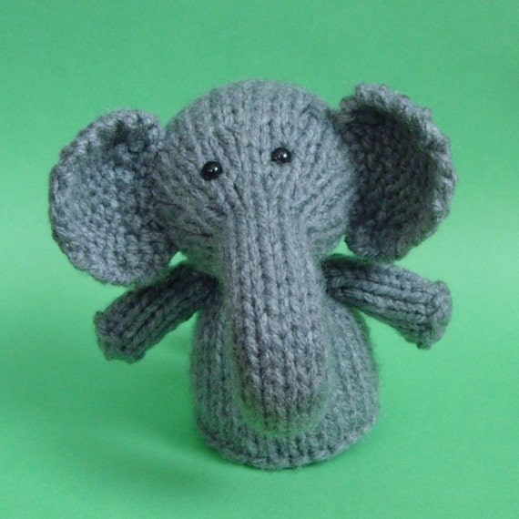 Elephant Toy Knitting Pattern PDF Legs Egg Cozy & Finger