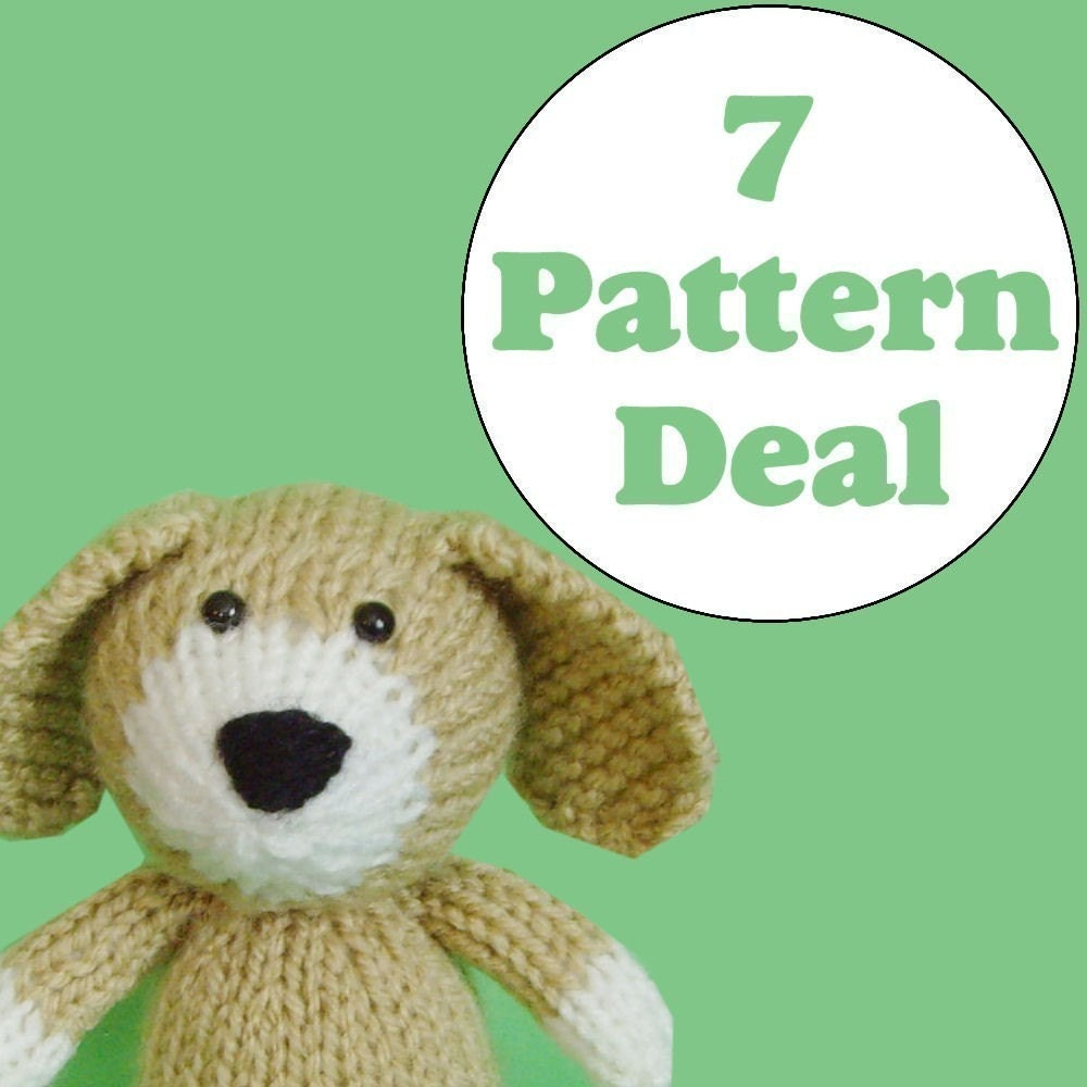 KNITTING PATTERN DEAL 7 Animal Toy Patterns you by Jellybum