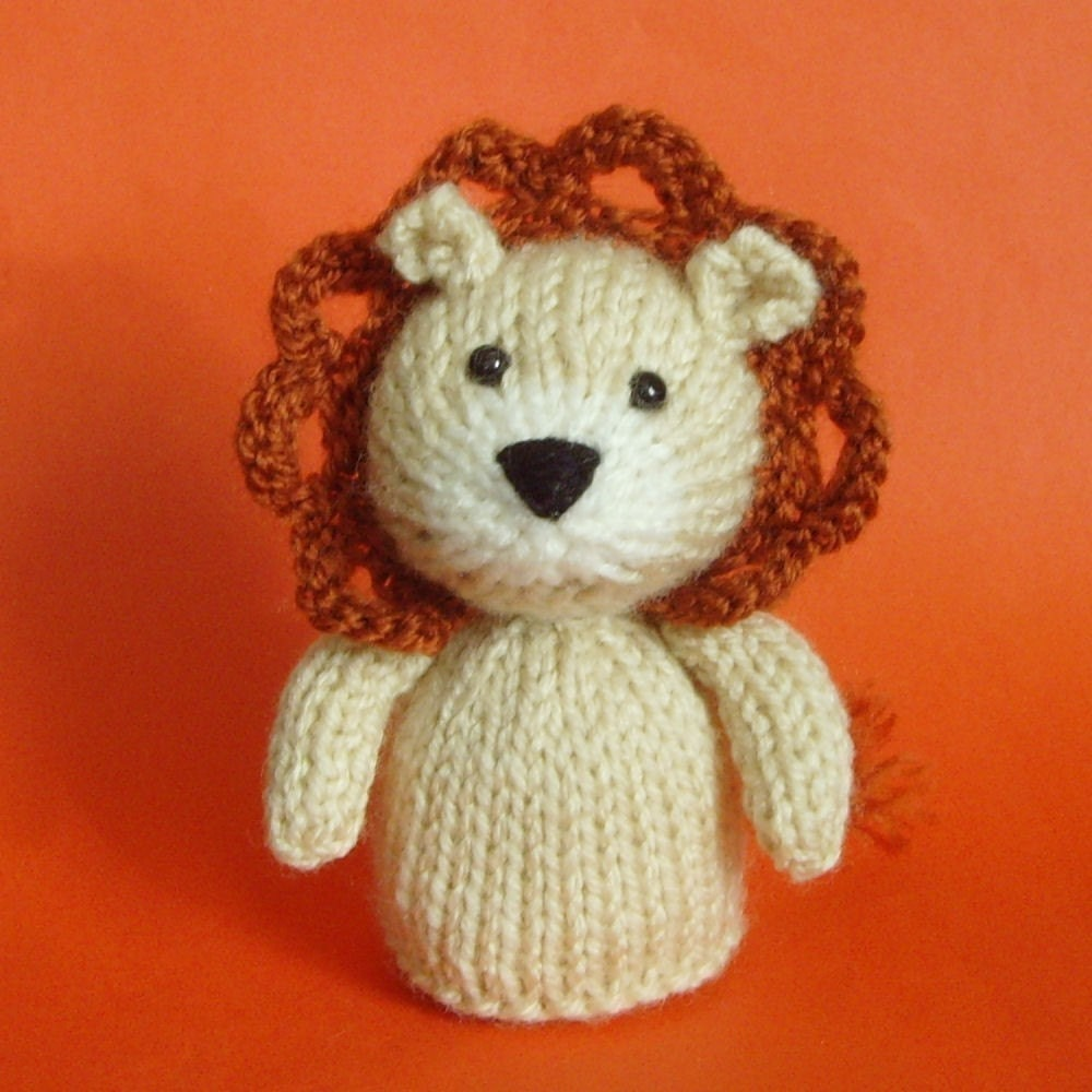Easy Finger Puppet Knitting Pattern : Lion toy knitting pattern pdf legs egg cozy finger