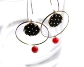 Hoop Earrings in Black, White and Red and Polka Dots - Blacky