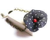 Charm Bracelet in Red and Blue with Silk Flowers - Flirty Poppy
