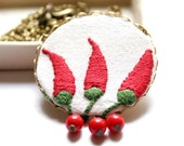Necklace in Red and Green with Folk Art Embroidery - Modern Hungary series - Paprika