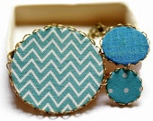 Statement Necklace in Turquoise with Zigzag Stripes and Polka Dots - The Chevron Collection