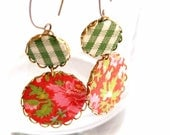 Earrings in Green and Red with Gingham fabric - Summer Picnic - SALE