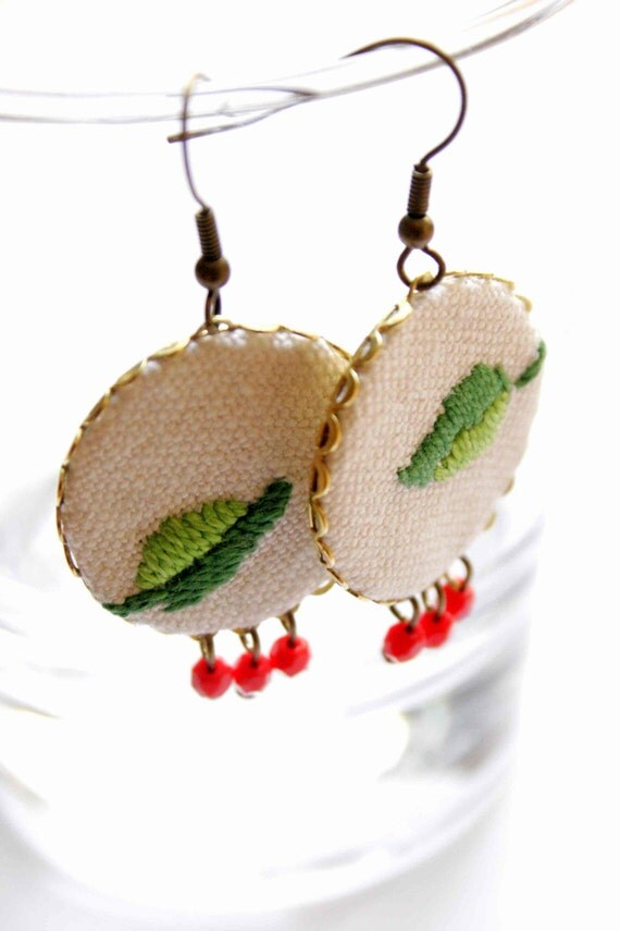 Modern Hungary for your ears - earrings made of brass filigree and fabric - vadjutka