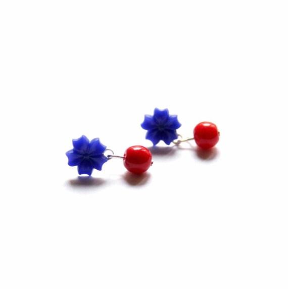 Stud Earrings in Cobalt Blue and Red - American Sweetie