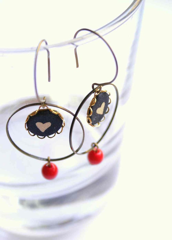Hoop Earrings in Blue and Red - One Heart Above All