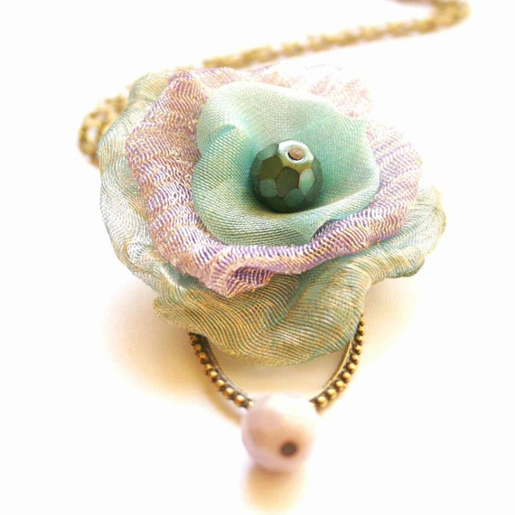 Long Necklace in Turquoise, Green and Lilac - Pastel Poppy