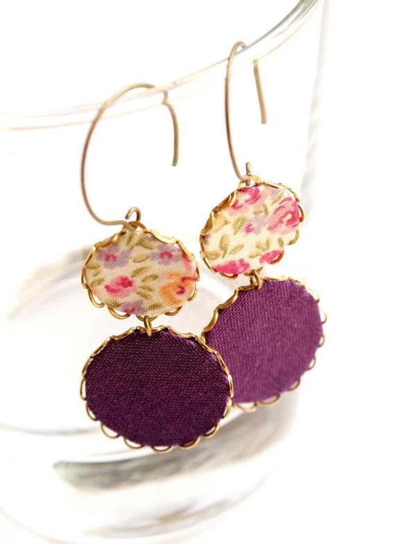 Earrings in Violet, Orange and Lilac - Violet Summer