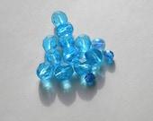Assorted Czech Glass Ffirepolished Light Turquoise Beads (14)