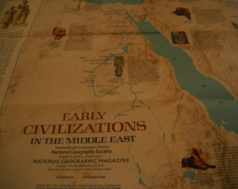 National Geographic MAP of MIDDLE EAST Eastern Mediterranean September 1978   37 x 22  inches