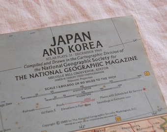 Japan And Korea map December 1960, National Geographic Magazine